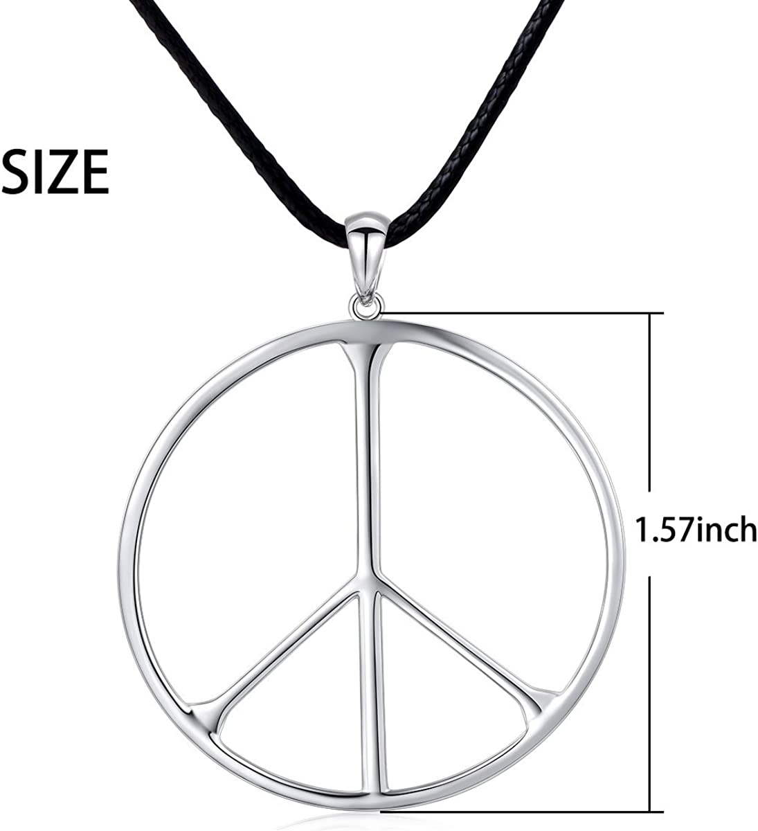 Best Quality Free Gift Box Sterling Silver Click-on Cz Peace Sign Charm