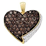 Sonia Jewels 10k Yellow and White Two Tone Gold Round Cut Brown Chocolate and White Diamond Heart Shape Love Pendant (.85 cttw)