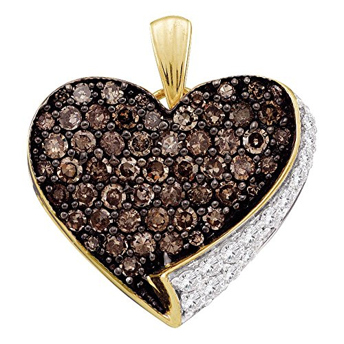 - Sonia Jewels 10k Yellow and White Two Tone Gold Round Cut Brown Chocolate and White Diamond Heart Shape Love Pendant (.85 cttw)