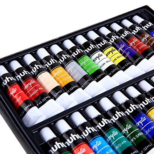 Ohuhu Acrylic Paint Set, 24 Colors Artist's Acrylic Painting Kit Acrylic Paints for Stone, Canvas, Wood, Clay, Fabric, Nail Art, Ceramic, Crafts, 12ml x 24 Tubes