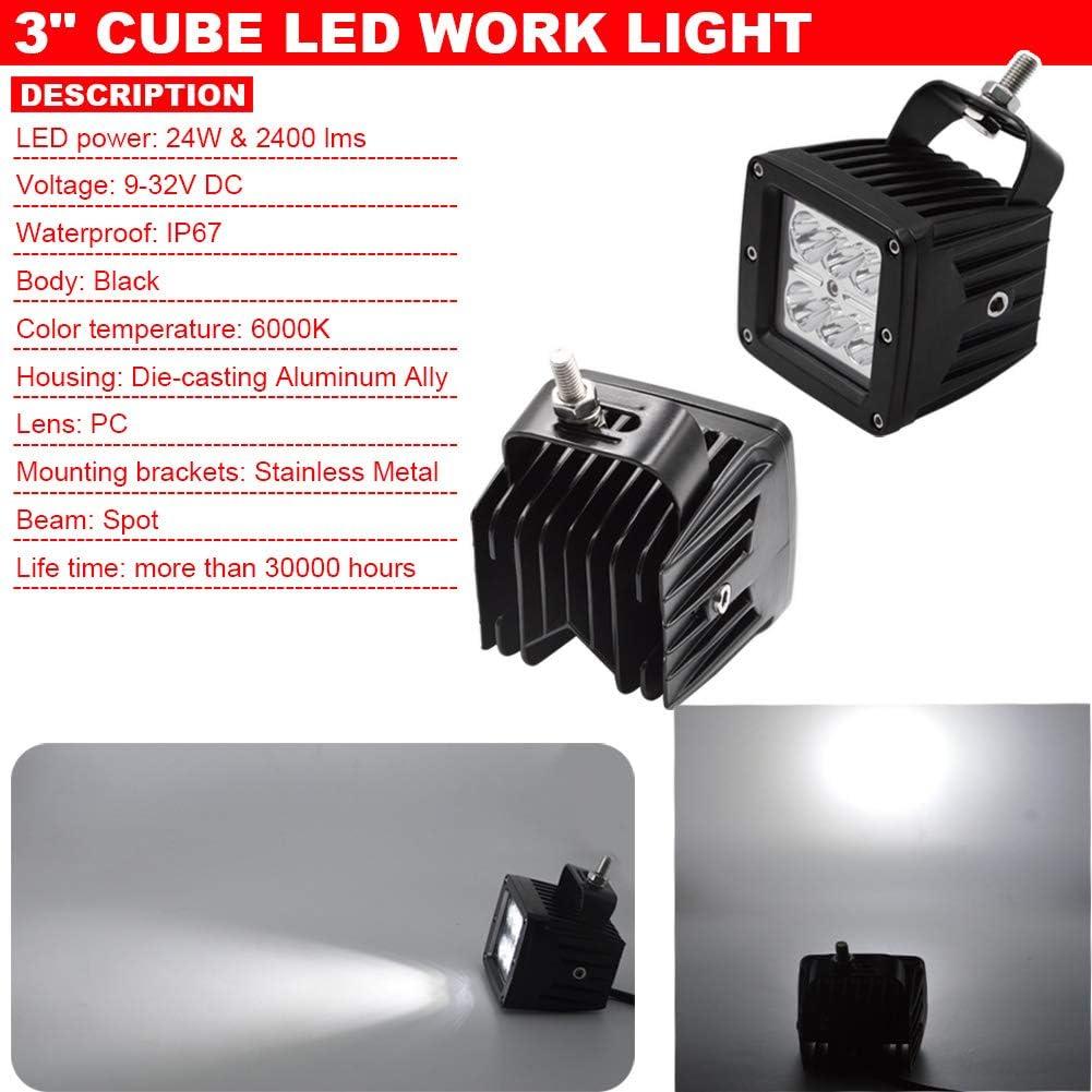 2x 3Inch LED Fog Light Pod with Plug Adapter Wiring /& Hidden Bumper Fog Lamp Location Mounting Bracket Fit 2007-2013 Tundra /& 2005-2011 Tacoma