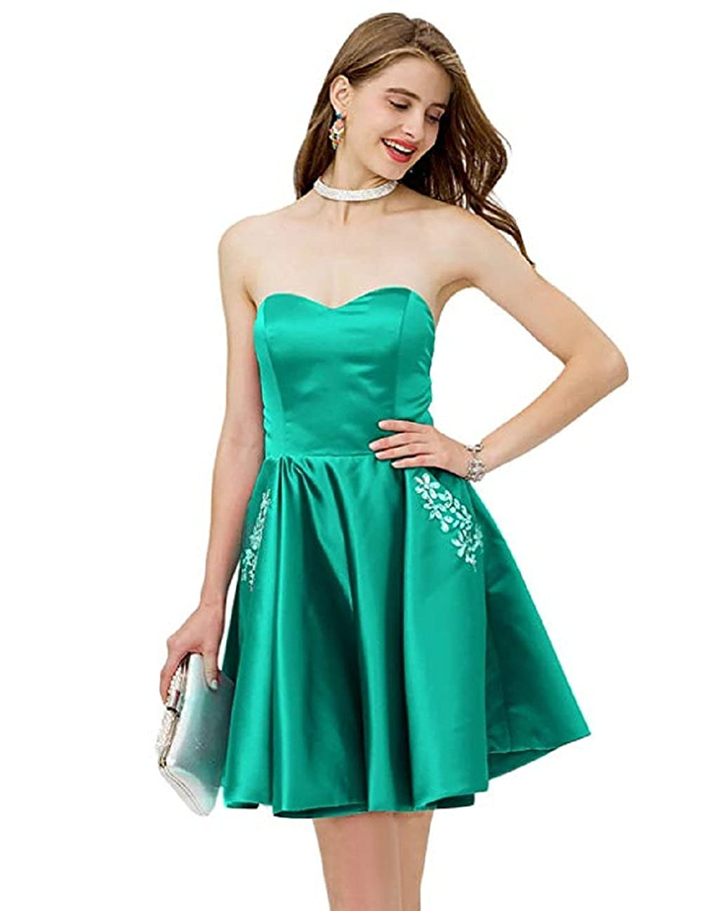 Adodress Women Sweetheart Satin Strapless Short Prom Homecoming Dress with Beaded Pocket