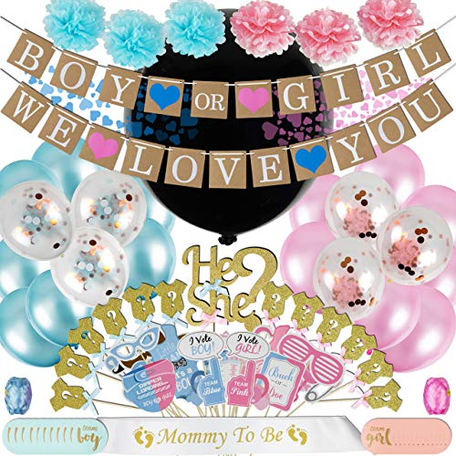 Gender Reveal Party Supplies (105pc) | Free eBook included | Baby Shower Gender Reveal Decorations with Black Gender Reveal Balloon, Pink and Blue Confetti, Gender Reveal Banner | by Five-o-Seven -