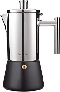 Easyworkz Diego Stovetop Espresso Maker Stainless Steel Italian Coffee Machine Maker Moka Pot For 4-6Cups 10oz Espresso Pot For Induction Gas and all stoves (Black, 10oz)