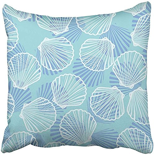 - Throw Pillow Cover Square 18x18 Inches Blue Shell Seashells White Starfish Animal Beach Beautiful Collection Color Drawing Polyester Decor Hidden Zipper Print On Pillowcases