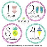 BEANSLEY'S Baby Monthly Milestone Stickers - (Set of 20) - 12, 4' Monthly Beach Girl + 8 Bonus - Perfect Gift for Newborns, Baby Registry, Baby Shower, and Keepsake - #1 Photo Prop