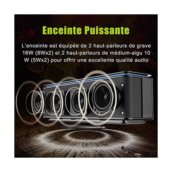 Enceinte Bluetooth Portable, Batterie Externe 10000mAh 26W 4 Haut-Parleurs 24 Heures d'Autonomie Subwoofer Basses Puissantes Contrôle Tactile AUX/Micro Carte SD/TF/Microphone-Noir 2