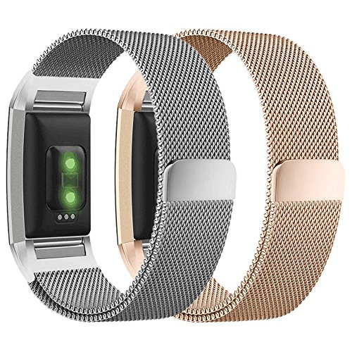 For Fitbit Charge 2 Bands for Women Men, hooroor Milanese Loop Stainless Steel Metal Bracelet Strap with Unique Magnet Lock Wristbands for Fitbit Charge 2 (Small, 2 Pack Silver + Rose Gold) (Kit 2 Fit)