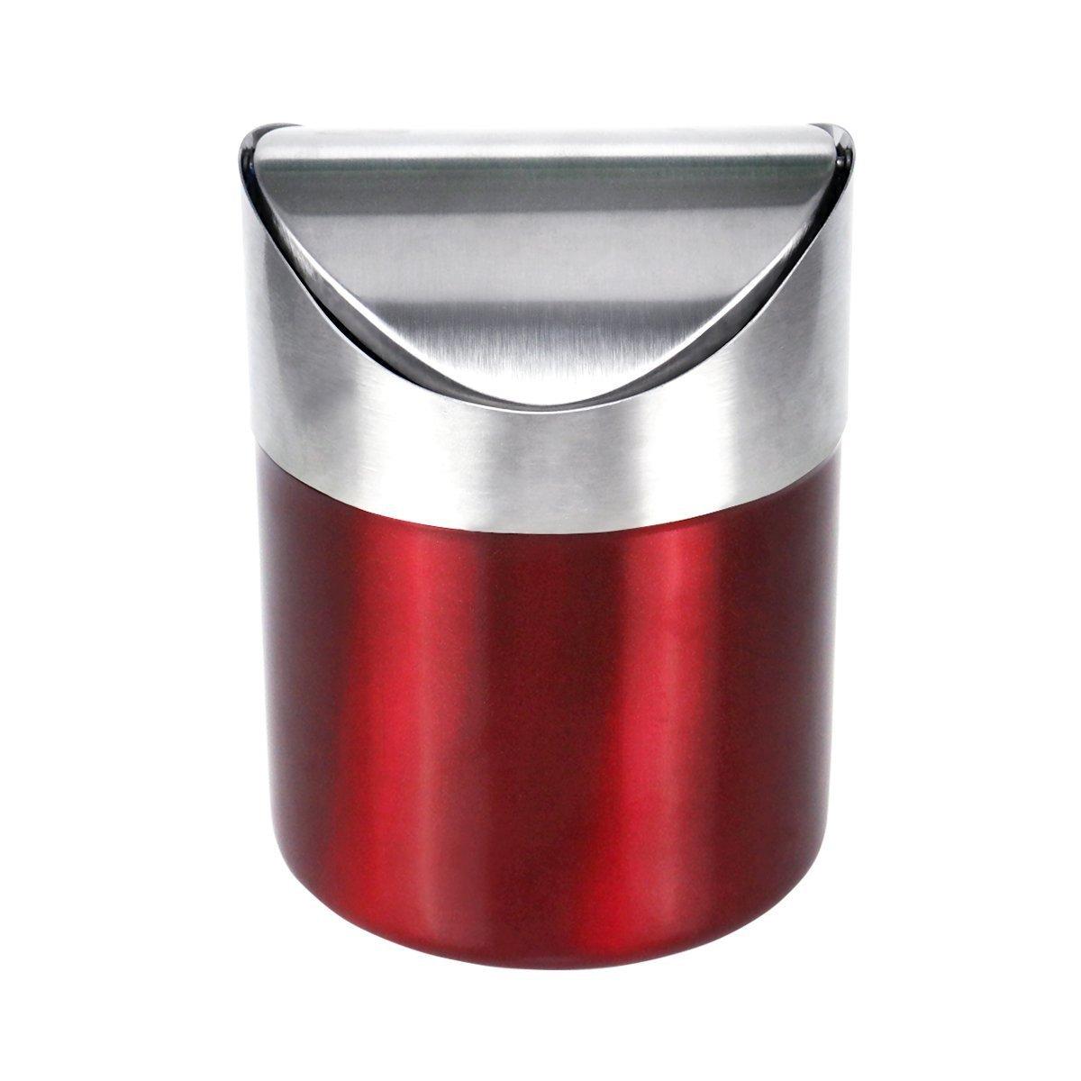Hofumix Desktop Garbage Can Countertop Trash Can Mini Trash Can Kitchen Desktop Storage Barrels Rubbish Bin Swing Lid Garbage Bin Wastebasket (red)
