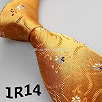 2015 Latest Style Classic Ties Gold Yellow/Blue/White Floral Design Mens Accessories/Dresses/Men Shirt/Wedding Party/Men Suits -1R14