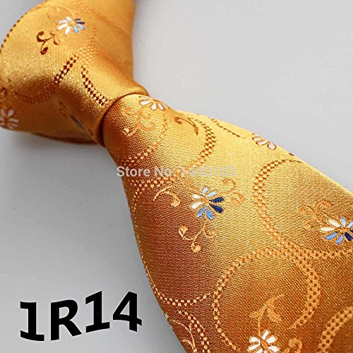 2015 Latest Style Classic Ties Gold Yellow/Blue/White Floral Design Mens Accessories/Dresses/Men Shirt/Wedding Party/Men Suits - 2015 Latest For Styles