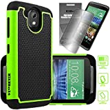 HTC Desire 526 Cyber Defender Case - Green by ElBolt with Free HD Screen Protector