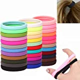 Seamless Hair Ties for Women Thick Elastics Girls Scrunchies 24 Colors 120 PCS Cotton Ouchless No Crease Damage Large…