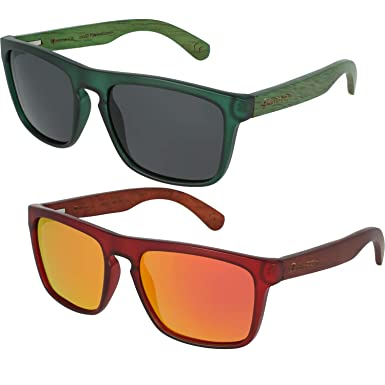 f65e0c020466 Wildwood Men s West Coaster Wooden Rectangular Polarized Sunglasses (Dark  Green Dark Gray Lens)