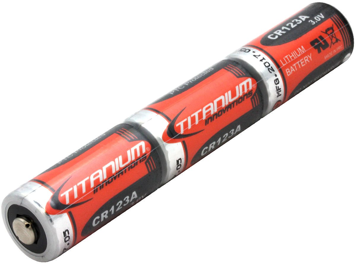 Titanium Innovations CR123A 3V 1400mAh Lithium Photo Battery, Box of 144, Wrapped in Stacks of 3 Pieces Each