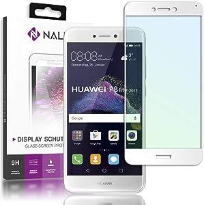 NALIA Cristal Templado Compatible con Huawei P8 Lite 2017, Vidrio Blindado Película Protectora Display Cobertura, 9H Protector de Pantalla Telefono Celular Tempered Glass, Color:Blanc