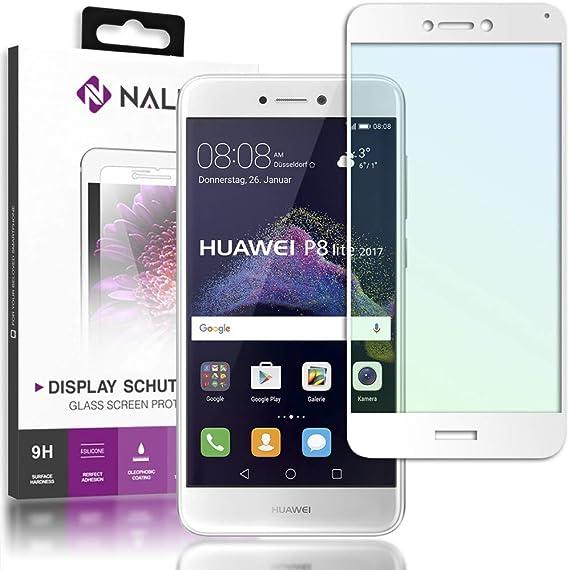 NALIA Cristal Templado Compatible con Huawei P8 Lite 2017, Vidrio Blindado Película Protectora Display Cobertura, 9H Protector de Pantalla Telefono Celular Tempered Glass, Color:Blanc: Amazon.es: Electrónica