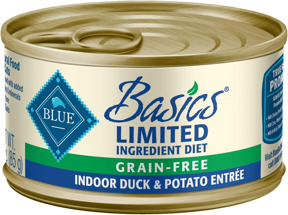 Blue Buffalo Basics Limited Ingredient Diet Grain Free Natural Adult Pate Wet Cat Food, Indoor Duck 3-oz cans (Pack of 24)