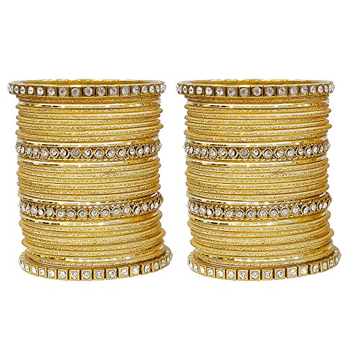 MUCH-MORE Fabulous Collection of Multi Color Crystal Bangles Set Indian Jewellery for Women's (Golden, 2.6)