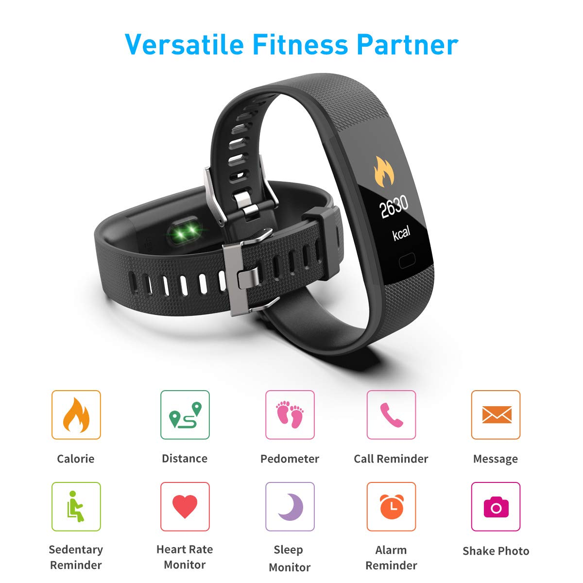 Saikee Fitness Tracker, Activity Tracker Watch with Heart Rate Monitor, Sleep Monitor, Step Counter Fitness Watch IP67 Waterproof Pedometer, Compatible with iPhone Android