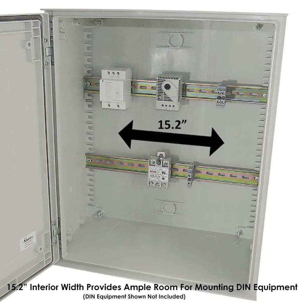Altelix 20x16x8 Industrial DIN Rail FRP Fiberglass NEMA 3X Box Weatherproof Enclosure with Hinged Lid & Quarter-Turn Latches by Altelix (Image #4)