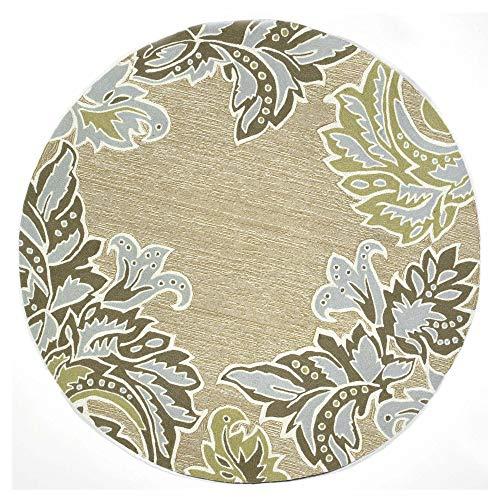 Liora Manne RV0D8A22404 1947/04 AQ Ravella Casual Ornamental Leaf Bdr Indoor/Outdoor Rug, 8' Round, Ivory/Cream Natural ()