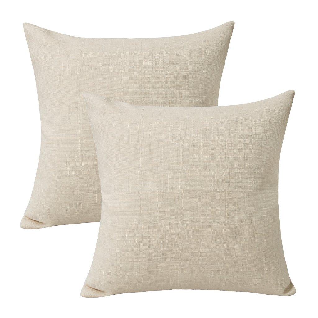 Jeanerlor Lined Linen Solid Decorative Pillow Cover/Euro Sham/Cushion Sham Prime, Durable Pillow Cases for Chair - 26''x26'' (65 x 65 cm),Light Linen,2 Packs
