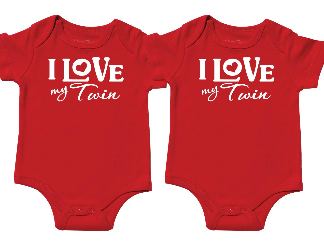 Nursery Decals and More Matching Onesies for Twins, Includes 2 Bodysuits, 0-3 Month I Love My Twin