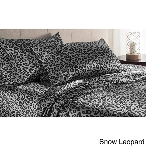 Elite Home Products, Inc. Luxury Satin Solid Sheet Set Snow Leopard 4 Piece California King