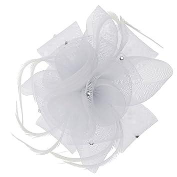 Rose Flower Feather Beak Clip Fascinator Ladies Day Wedding Races Hair  Clips Headpiece - white 5db39b383630