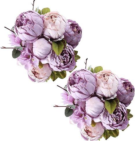 Amazon Com Fule 2 Pack Large Artificial Peony Silk Flower Bouquets Arrangement Wedding Centerpieces New Purple Kitchen Dining