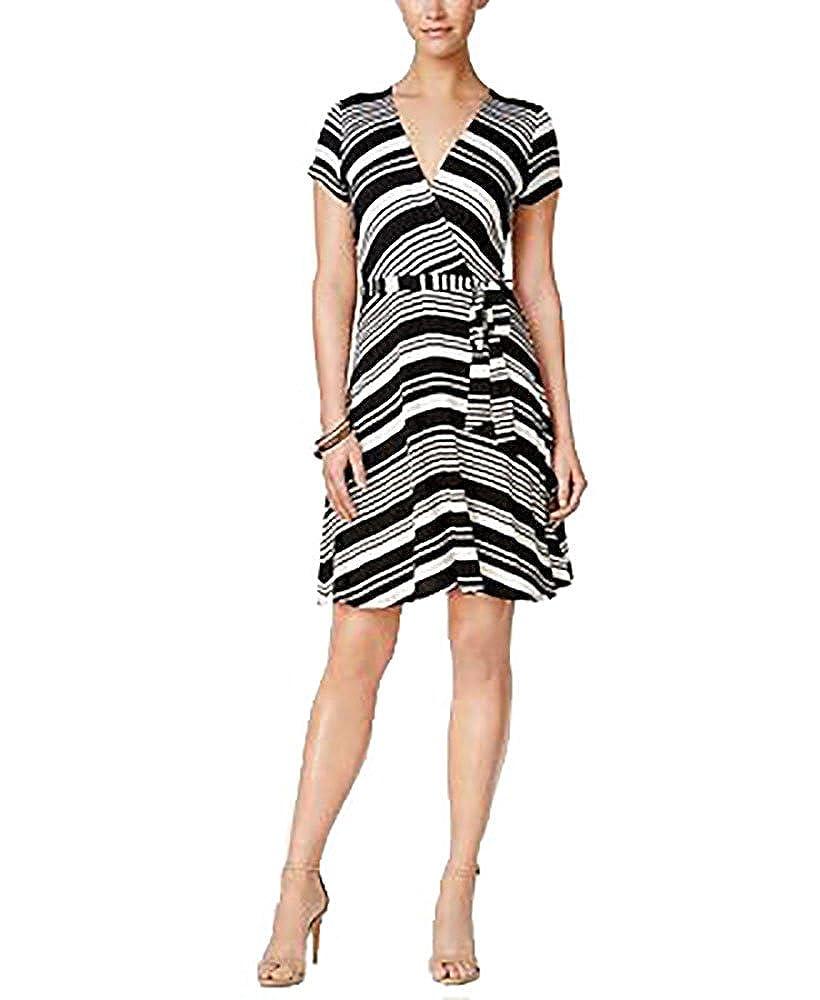 999d728a4e4 Monteau Petite Striped Faux-Wrap Dress (Blackwhite, PXL/Petite X ...