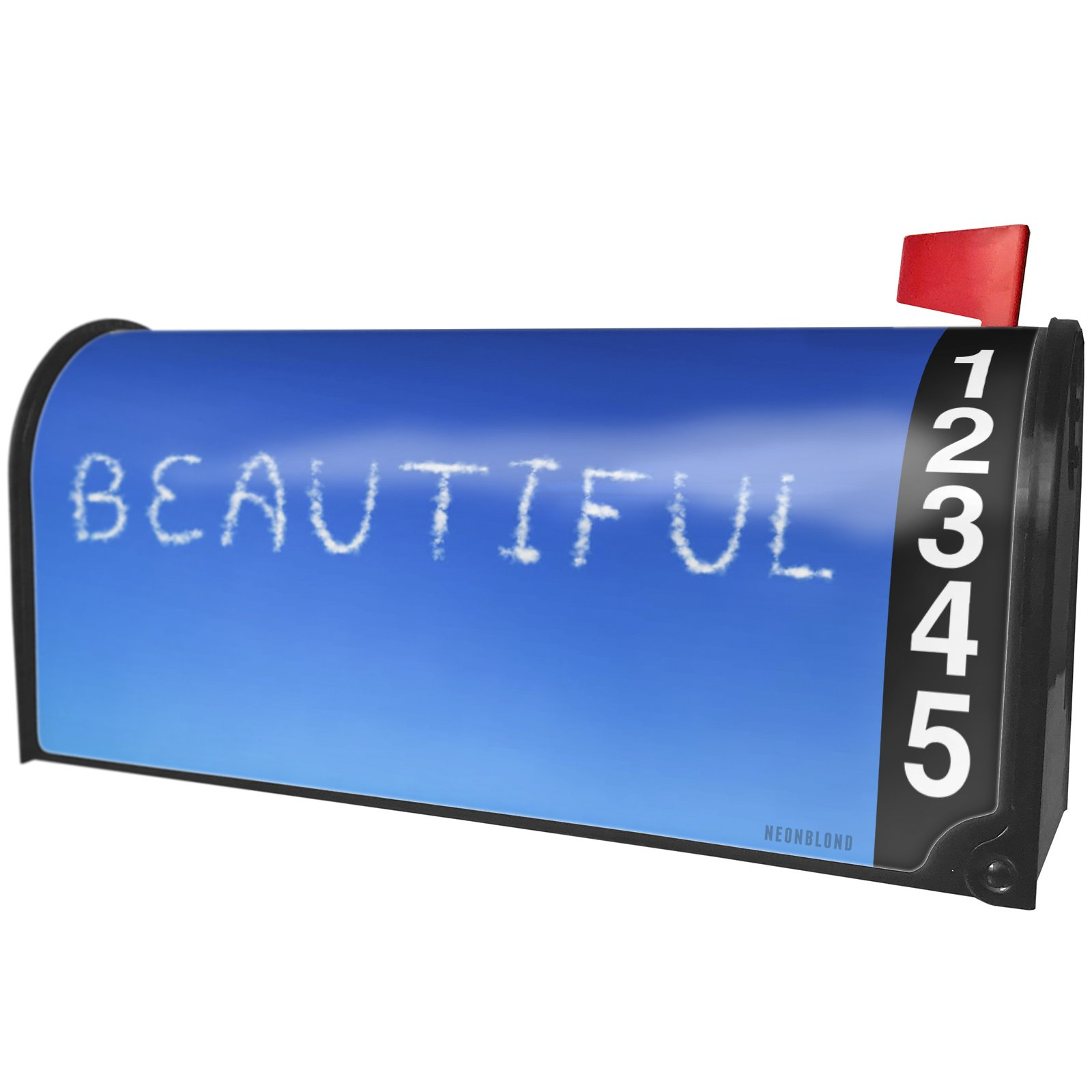 NEONBLOND Beautiful Clouds Fresh Air Magnetic Mailbox Cover Custom Numbers