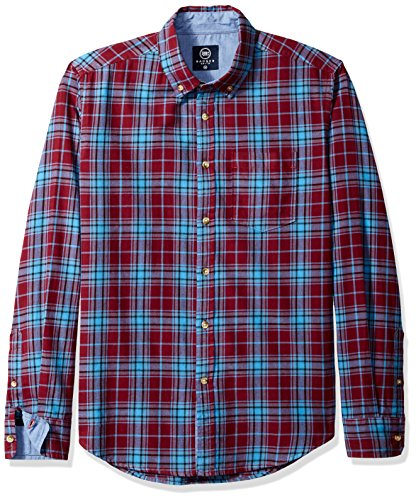 Cotton Brushed Check Mens - Badger Smith Men's Cotton Twill Checks Slim Fit Button Down Shirt L Red