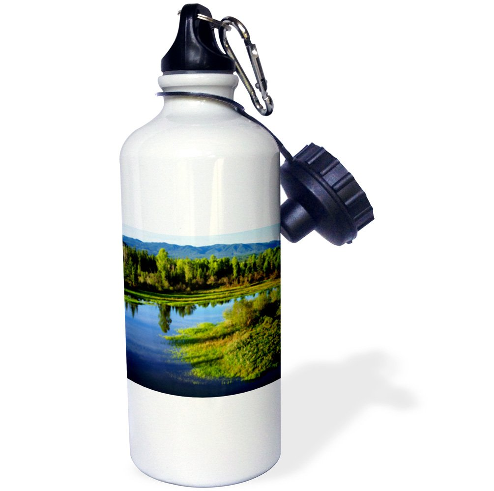 3dRose wb/_205637/_1 USA NP A Lush Meadow in The Grand Tetons Sports Water Bottle 21 oz Multicolor Wyoming