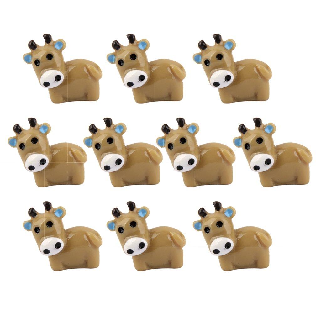 Lot de 10pcs Vache Miniature Décor pour Micro Paysage Bonsaï DIY Bricolage - Café Générique