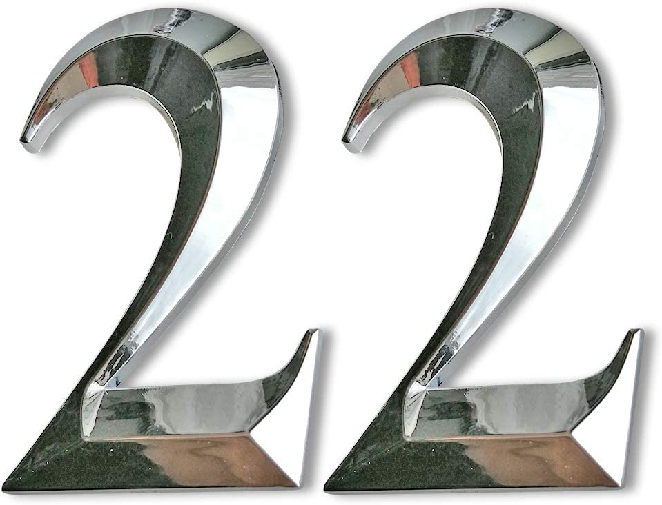 2 Pcs Door Numbers 2, Silver Address Sign Number Stickers for Mailbox/Apartment/Office Room, Metal Shiny, 2-3/4 Inch High. (2 Pcs NO.2, Silver)