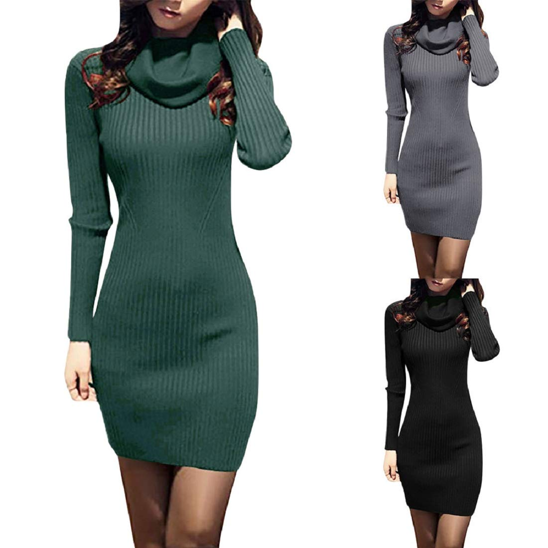 Bkolouuoe Women Cowl Neck Knit Sweater Dress Casual Long Sleeve Long Slim Fit Stretchable Elasticity Dress