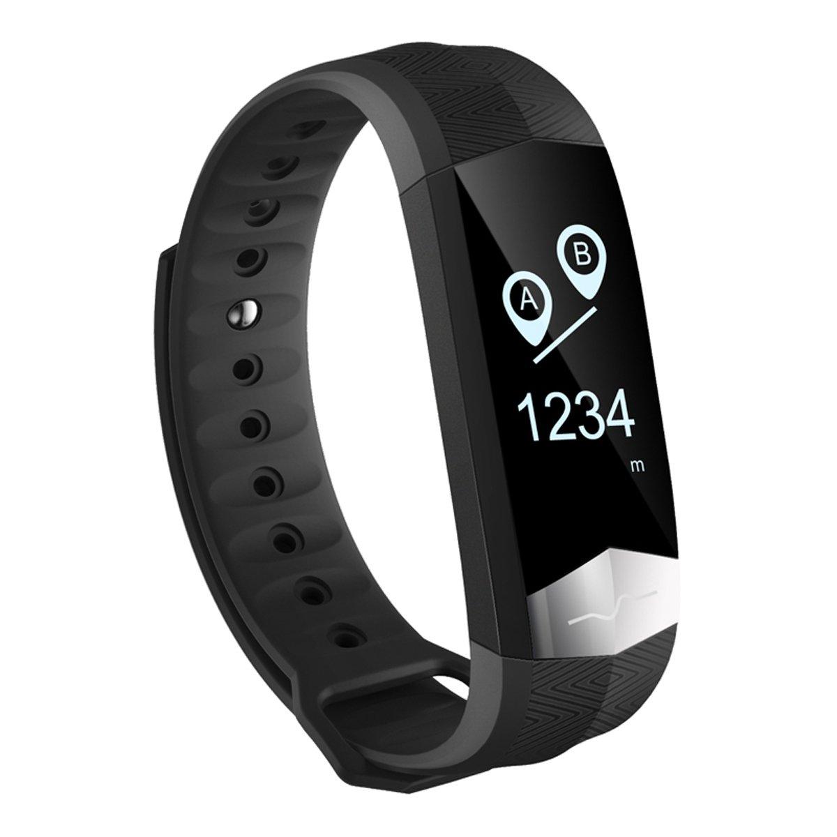 WAZY Fitness Bracelet Smart Bracelet ECG Fréquence Cardiaque Pression de Sommeil Surveillance Du Sport Bluetooth Santé Des Sports, Noir, 9.6 * 0.7 * 0.4 in