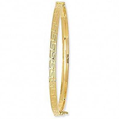 d5022420c7b66 Greek Key Gold Bangle Ladies 4mm Wide Hinged Bracelet 9k Yellow Gold ...