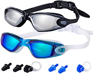 ALLPAIPAI Swim Goggles | Swimming Goggles | Pack of 2 No Leaking Anti Fog UV Protection Triathlon with Nose Clips + Ear Plugs,Swim Goggles for Women Men Adult Youth Kids Child