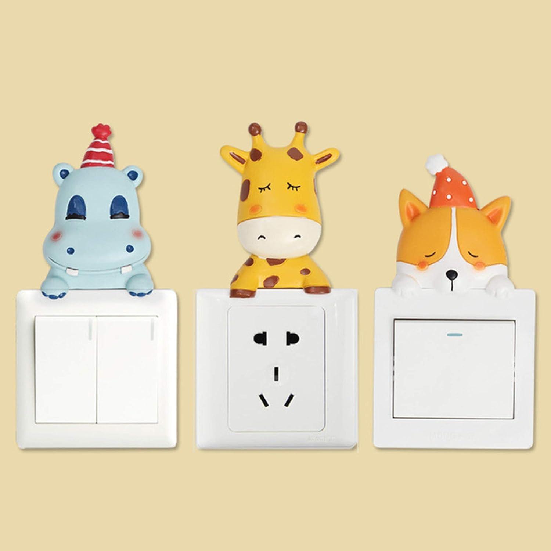 ETIUC Cute Animals Light Switch Sticker 3D Resin Giraffe Hippo Polar Bear Chicken Nursery Wall Decals Art Mural for Baby Room Kids Bedroom Decor Hippo