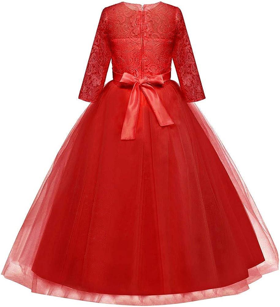 Longra Vestito in Pizzo da Bambino Ragazza Elegante Costume da Principessa Partito Compleanno Bambini Vestito Carnevale Cosplay Abito da Cerimonia Bambina