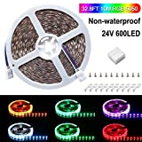 SPARKE LED Strip Light Only, Non-Waterproof 600leds Flexible Color Changing RGB 24V SMD5050 Tape Light, Pack of 32.8ft Strips with Mount Brackets(No Remote and Power Adapter)