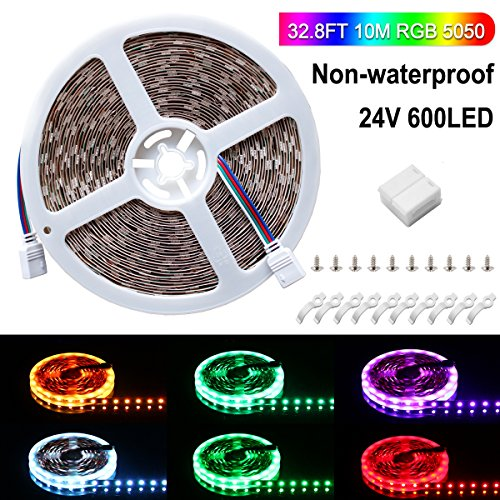 SPARKE LED Strip Light Only, Non-Waterproof 600leds Flexible Color Changing RGB 24V SMD5050 Tape Light, Pack of 32.8ft Strips with Mount Brackets(No Remote and Power Adapter) by SPARKE