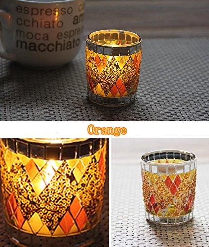 EOEO 10pcs European handmade mosaic small cup glass candlestick romantic candlelight dinner bar decoration ornaments (Orange)