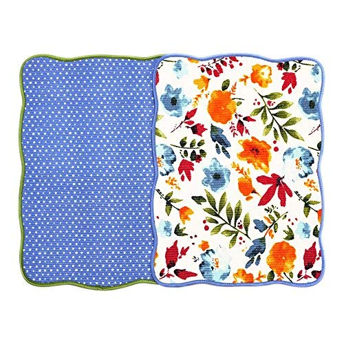Microfiber Dish Drying Mat 15x20 Florals Printing Best for Home & Kitchen By Bear Family- Pack of 2 (A)