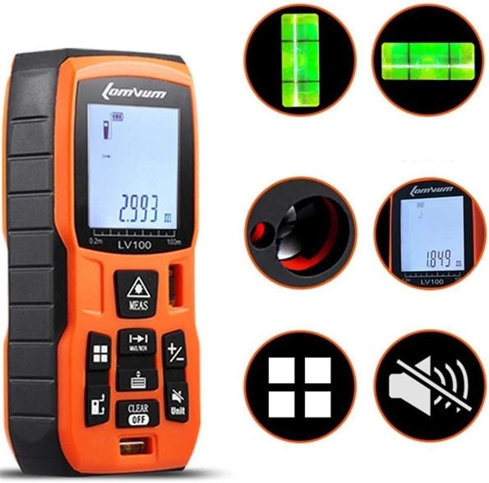 BESISOON La Alta precisión de Mano láser telémetro Medidor de Distancia telémetro Digital con baterías Recargables + Cargador (Color : Naranja, tamaño : A)