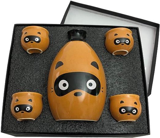 Hand Made Kawaii Panda Family Gift Box Ceramic Sake Set with 4 Cups