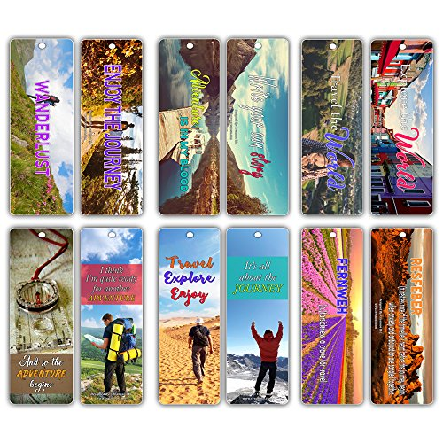 Creanoso Inspiring Wanderlust Adventurer's Bookmarks (30-Pack) - Traveler's Essential Reading Bookmarker Card Set - Bookmarks Collection Set for Men, Women, Adult, Teens